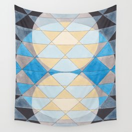Triangle Pattern No. 14 Circles in Black, Blue and Yellow Wall Tapestry