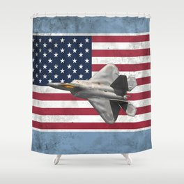 F22 Stealth Fighter Jet American Flag Shower Curtain
