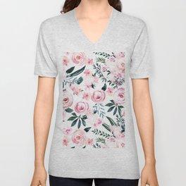Floral Rose Watercolor Flower Pattern Unisex V-Neck