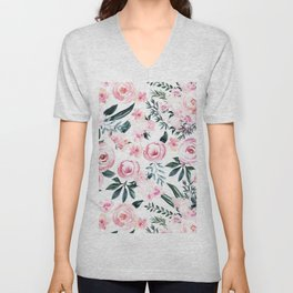 Floral Rose Watercolor Flower Pattern Unisex V-Neck