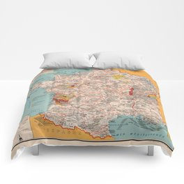 Gastronomy Map Of France 1932 Comforters