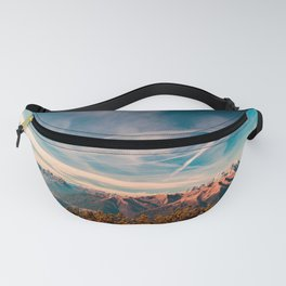 Sunny autumn day at the mount Tersadia in the italian alps Fanny Pack