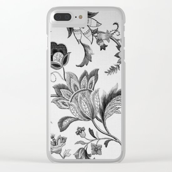 Floral Black and White Clear iPhone Case