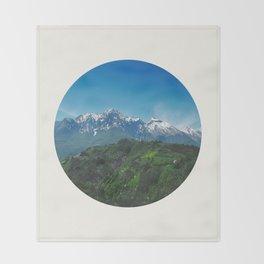 Mid Century, Modern, Round, Circle, Photo, Snow Mountain, Green Valley, Landscape Throw Blanket