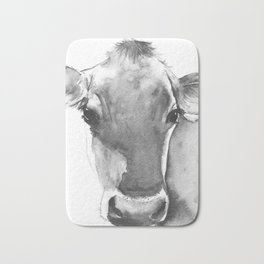 Black and White Cow Painting Bath Mat