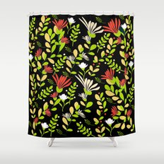 Abstract flowers with black background Shower Curtain