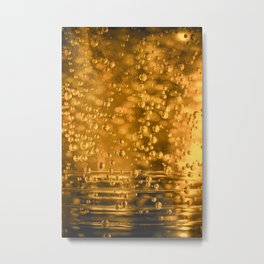 Golden water bubbles closeup macro with blurry effects Metal Print