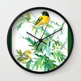 Baltimore Oriole Birds and White Oak Tree Wall Clock