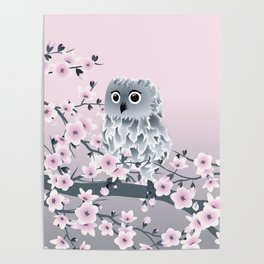 Cute Owl and Cherry Blossoms Pink Gray Poster