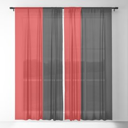 Psychedelic black and red stripes VII. Sheer Curtain