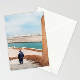 Moroccan streets with woman walking in the coast | Rabat Morocco photohraphy print Stationery Cards