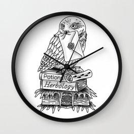 Hedwig On Books Wall Clock