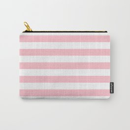 Narrow Horizontal Stripes - White and Pink Carry-All Pouch