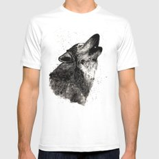Wolf Ink MEDIUM White Mens Fitted Tee
