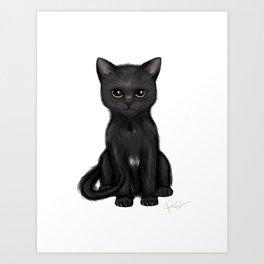 Sweet Black Kitty Cat with Bright Golden Eyes  Art Print