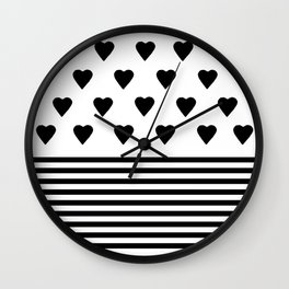 Heart Stripes Black on White Wall Clock
