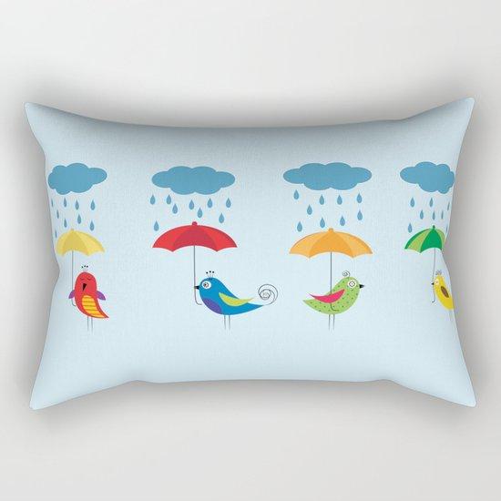 Birds with umbrellas Rectangular Pillow