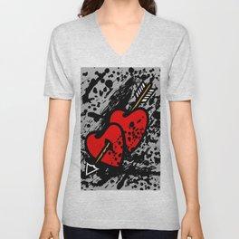Hearts pierced with an arrow Unisex V-Neck