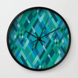 Blue Green Harlequin Pattern Wall Clock