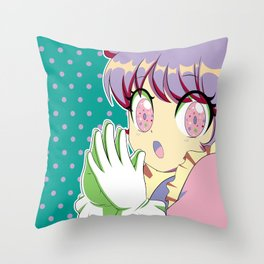 Kawaii magical girl// Mint green pattern pink spots Throw Pillow