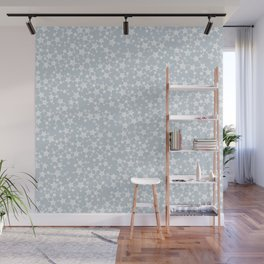 Block Printed Dusty Blue and White Stars Wall Mural