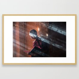 Young Monk in Bagan Framed Art Print
