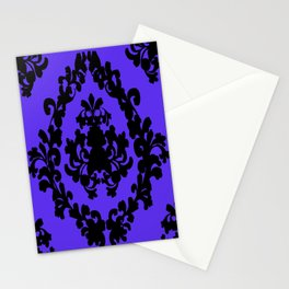 Victorian Damask Purple and Black Stationery Cards