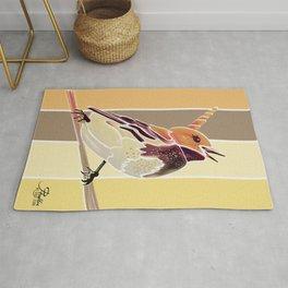 Watercolor Unicorn Song bird // Rustic Barn Wood Stripe Background Rug