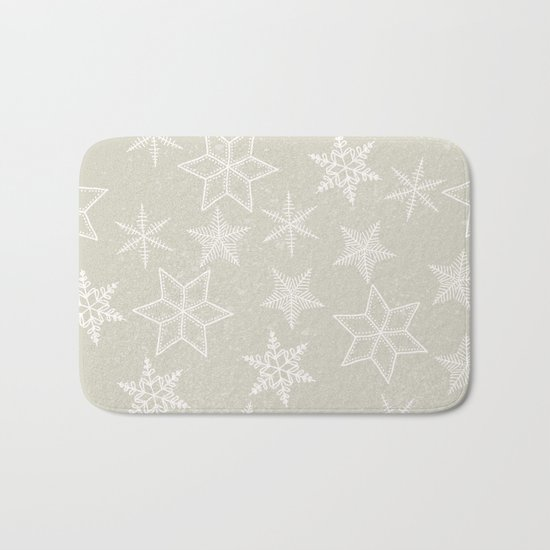 Snowflakes on beige background Bath Mat