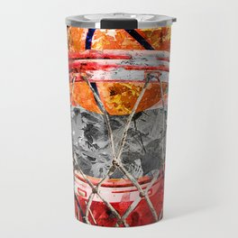 Modern basketball art print swoosh 158 - Basketball artwork poster Travel Mug