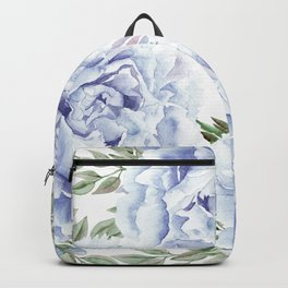Pretty Indigo Blue Roses Garden Backpack