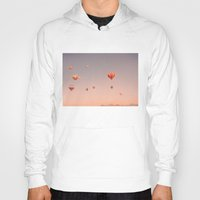 hot air balloons Hoodies featuring vintage hot air balloons in rio by Bianca Green