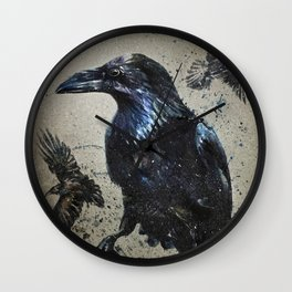 Raven background Wall Clock