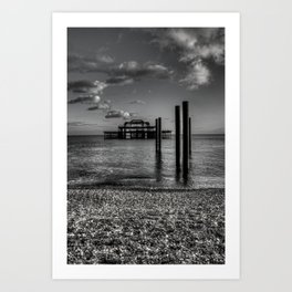 West pier in black and white Art Print