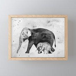 Family of elephants, black and white Framed Mini Art Print