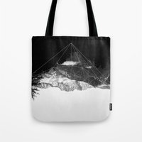 snowboarding Tote Bags featuring Crystal Mountain by Schwebewesen • Romina Lutz
