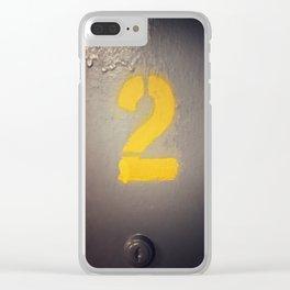 Yellow 2 Stencil Below Decks Clear iPhone Case