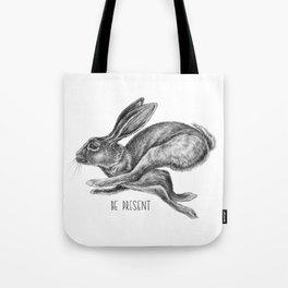 Animal Art | Hare and Quote by Magda Opoka | Animals | Black and White | black-and-white | bw Tote Bag