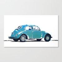 volkswagon Canvas Prints featuring Blue VW Bug by Regan's World