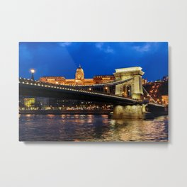 Chain Bridge in Budapest at Night Metal Print