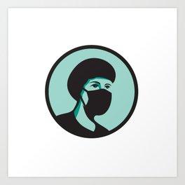Female Nurse Wearing Black Mask Mascot Art Print