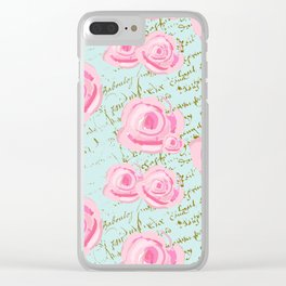 Pink  Roes and French Script Clear iPhone Case