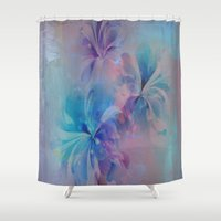 shabby chic Shower Curtains featuring Shabby Chic Painterly Floral Abstract by Judy Palkimas