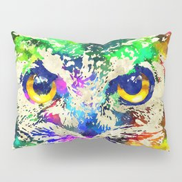 Owl Watercolor Grunge Pillow Sham