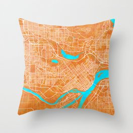 Burnaby, BC, Canada, Gold, Blue, City, Map Throw Pillow