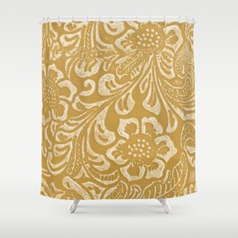 Tan & Cream Tooled Leather Shower Curtain