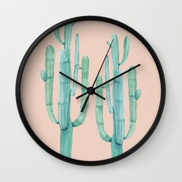 Besties Cactus Friends Turquoise + Coral Wall Clock