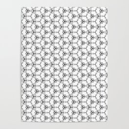 Hex Pattern 65 - White and Black Poster