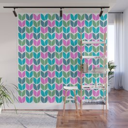 Tulip Knit (Teal Pink Blue Green) Wall Mural