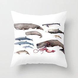 Deep sea whales Throw Pillow